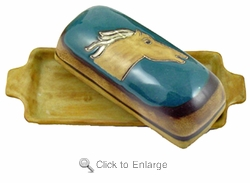Mara Stoneware Butter Dish with Lid - Horses