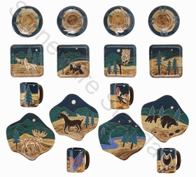 Mara Stoneware Dinnerware Set - Animals - 16 Pieces