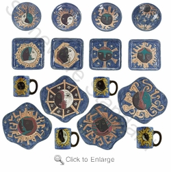 Mara Stoneware Dinnerware Set  - Celestial - 16 Pieces