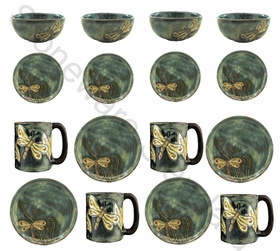 Mara Stoneware Dinnerware Set - Dragonfly - 16 Pieces