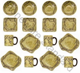 Mara Stoneware Dinnerware Set - Grapevine - 16 Pieces