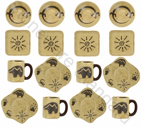 Mara Stoneware Dinnerware Set  - Southwest - 16 Pieces
