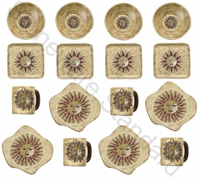 Mara Stoneware Dinnerware Set - Suns - 16 Pieces