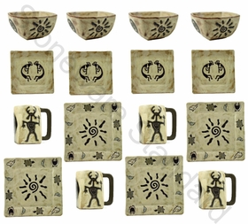 Mara Stoneware Square Dinnerware Set - Dream Spirit - 16 Pieces