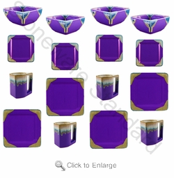 Prado Stoneware 16Pc Square Dinner Set-Purple