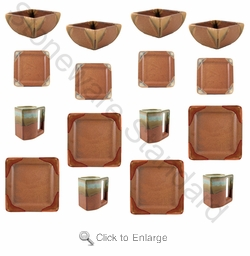 Prado Stoneware 16Pc Square Dinner Set-Rustic Brown