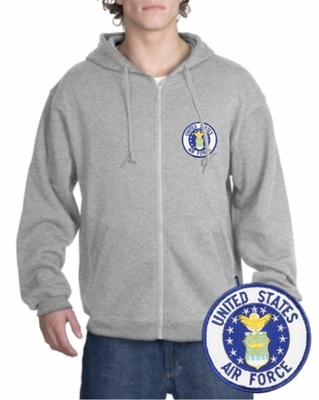 Air Force Patch Full Zippered Hoody