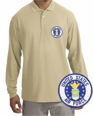 Air Force Patch Long Sleeve Polo