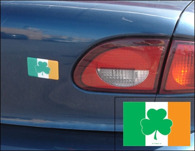 Domed Irish Flag With Shamrock Car Magnet