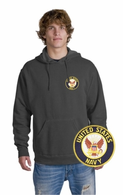 Navy Patch Crest Hooded Sweatshirt