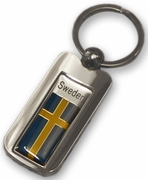 Silver Inlay Sweden Key Chain