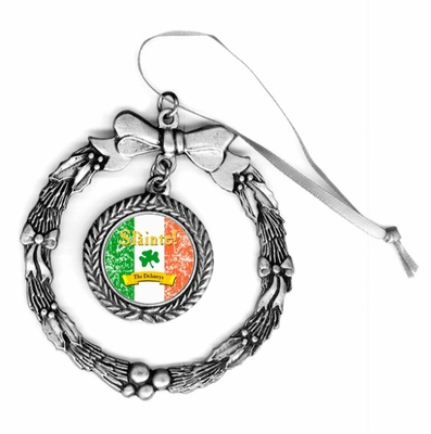 "Slainte Irish ""To Health""  Pewter Holiday Ornament"