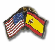 USA & Spanish Flags Pin