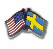 USA & Sweden Flags Pin