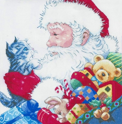 Counted Cross Stitch Kit Santa With Kitten From Design Works