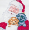 Counted Cross Stitch Kit Santa With Puppies From Design Works