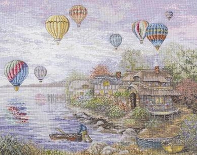 Cross Stitch Kit Cottageville Balloons From Bucilla Heirloom Collection
