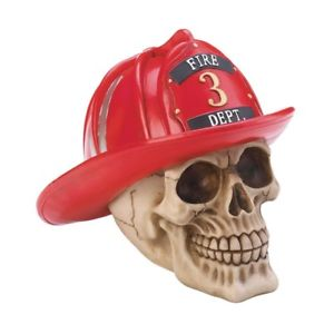Firefighter Skull Features a Bright Red Helmet Stunning Collectible Fi
