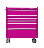 "33"" Six Drawer Rolling Pink Tool Box"