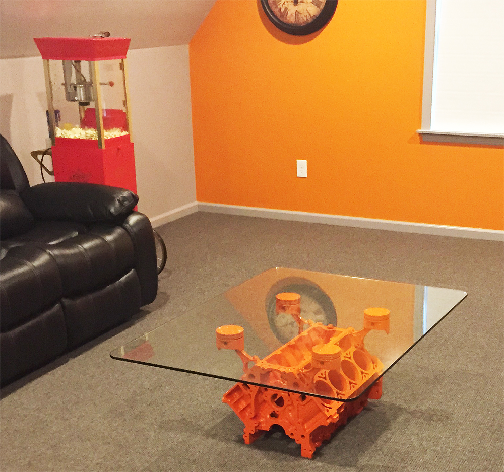 Incredible Car Guy Garage Chevy Engine Block Custom Color Coffee Table Squirreltailoven Fun Painted Chair Ideas Images Squirreltailovenorg