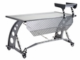 Clear Glass Silver Race Desk with Privacy Screen