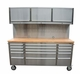 Fifteen Drawer Stainless Steel Tool Chest with Pegboard and Cabinets