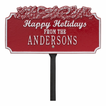 Happy Holidays with Candy Canes Personalized Lawn Stake
