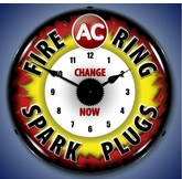 Lighted AC Fire Ring Spark Plug Clock