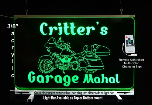 Personalized LED Color Changing Cruiser Motorcycle Sign