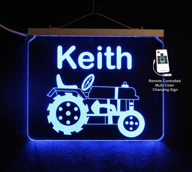 Personalized LED Color Changing Tractor Sign