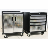 Set of Diamond Plate Modular Base Cabinets