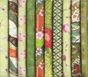 10 Green Asian Japanese Fat Quarters (2 1/2 Yds)