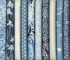 10 Ice Blue & Silver Metallic Imperial Fat Quarter Collection