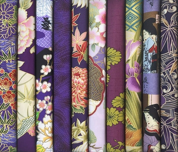 10 PURPLE ASIAN JAPANESE FAT QUARTERS (2 1/2 Yds.)