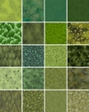 10 Green Tonal Fat Quarter Collection (2 1/2 Yards)