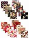 "Assorted Asian Fabric Charm Pack in Black & Red: Set of 40 - 5"" x 5"""