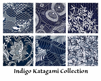 6 Indigo Katagami Fat Quarter Fabric Collection - 1 1/2 yards Total