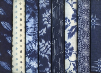 8 Indigo Blue Fat Quarters: 2 Yards