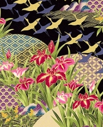 Asian Dreamscape of Iris Garden - Black/Gold Metallic - BTY