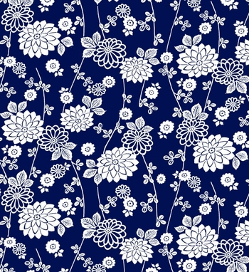 AVALON: Mums on a Vine - Indigo/White (1/2 Yd.)