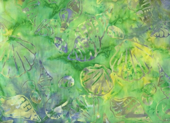 BATIK - Seashells: Lime Green/Heather Blue (By The Half Yd)