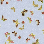 Butterflies & Lady Bugs: Sky Blue/Gold Metallic (1/2 Yd.)