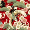 CELEBRATION: Beautiful Cranes - Red/Gold (1/2 Yd.)