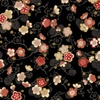 CELEBRATION: Pretty Little Blossoms - Black/Gold (1/2 Yd.)