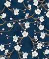 Cherry Blossoms in Spring: Navy Blue