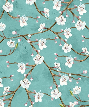 Cherry Blossoms in Spring: Teal