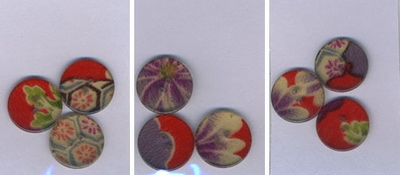 CHIRIMEN FABRIC BUTTONS ENCASED IN SHINY ACRYLIC: 3