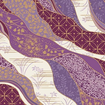 CHIYOGAMI: Patterned Waves - Purple/Gold Metallic (1/2 Yd)