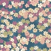 CHIYOGAMI: Spring Blossoms - Blue/Gold Metallic (1/2 Yd)