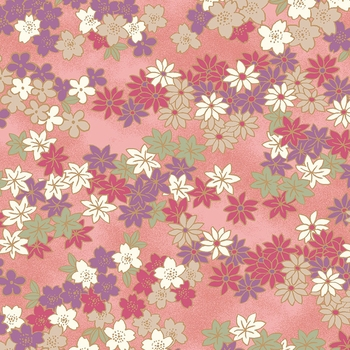 CHIYOGAMI: Spring Blossoms - Pink/Gold Metallic (1/2 Yd)